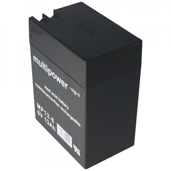 Multipower loodzuuraccu MP13-6 met 4,8 mm en 6,3 mm stekkercontact