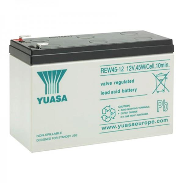 Yuasa REW45-12 batterijkabel hoge stroom 12V met 8Ah, Faston 6,3 mm stekkercontacten