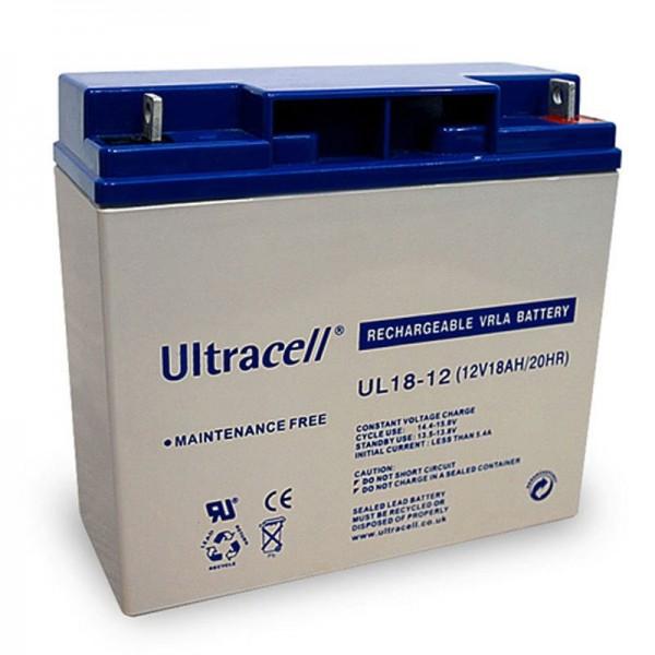 UL18-12 Ultracell loodbatterij 12 volt, 18Ah met M5-draad