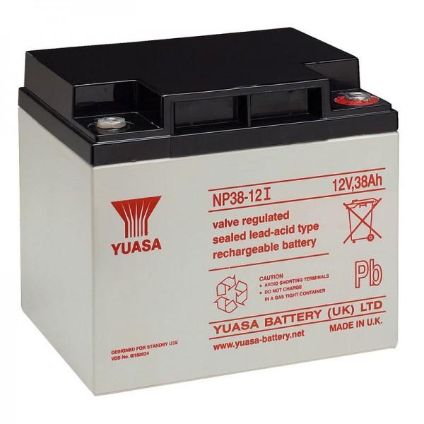 Yuasa NP38-12I loodbatterij met M5-draad, 12 volt, 38Ah