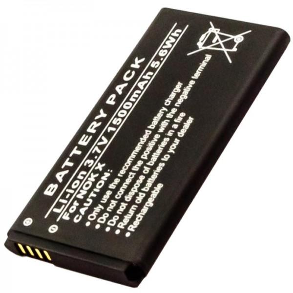 Batterij geschikt voor de Nokia X batterij met 3,7 volt en 1500 mAh