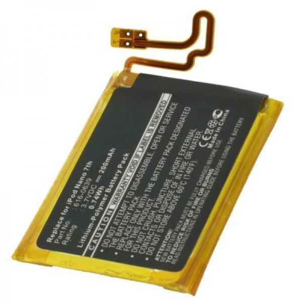AccuCell-batterij geschikt voor Apple Ipod Nano 7, 616-0639, 616-0640