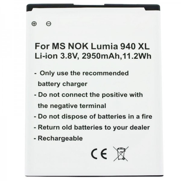 Batterij geschikt voor Microsoft Lumia 950 XL, Lumia 950 XL Dual SIM-batterij BV-T4D