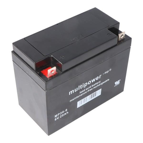 Multipower MP20-6 batterij PB-kabel, 6 volt met 20Ah, 2000mAh