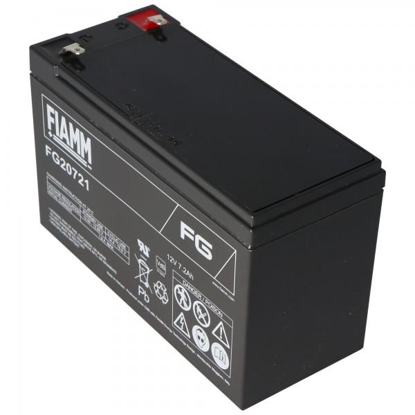 Fiamm FG20721 batterij 12 volt, 7,2 Ah met 4,8 mm stekkercontacten