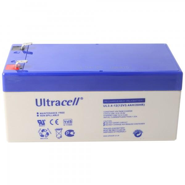 UL3.4-12 Ultracell loodbatterij 12 volt, 3.4Ah