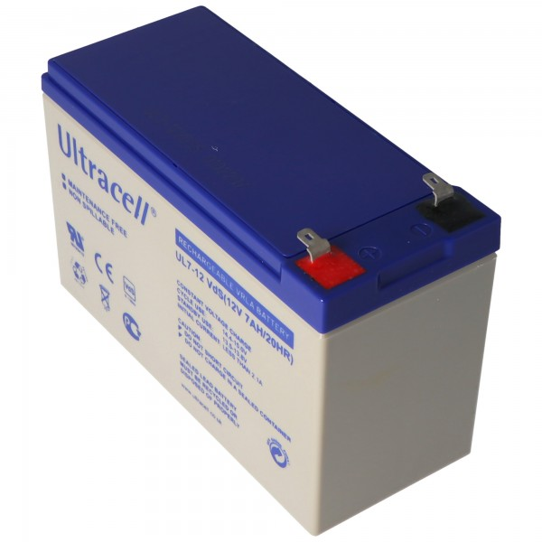 Ultracell UL7-12 loodbatterij 12 volt 7,0 Ah met Faston-contact 187, 4,8 mm