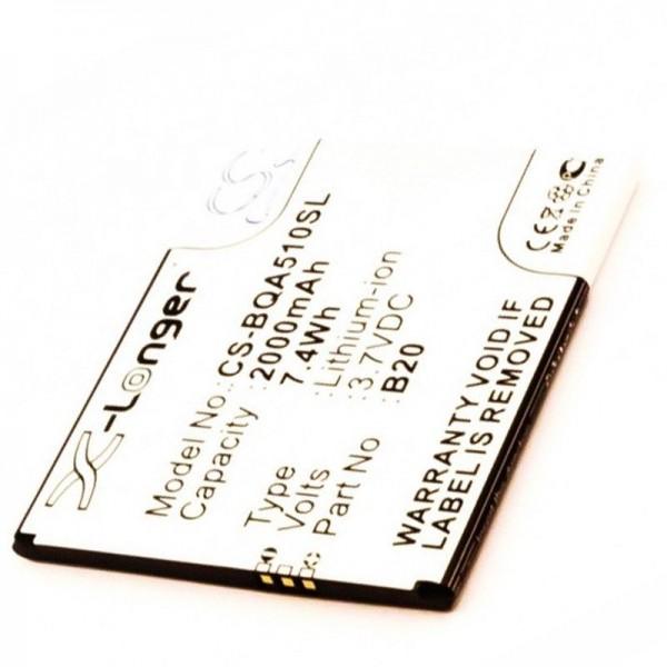 Batterij geschikt voor de BQ Aquaris 5.0 HD batterij Aquaris B20