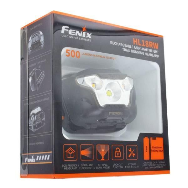 Fenix HL18RW LED-koplamp met een helderheid tot 500 lumen inclusief ARB-LP-1300 Li-Polymeer batterijpakket
