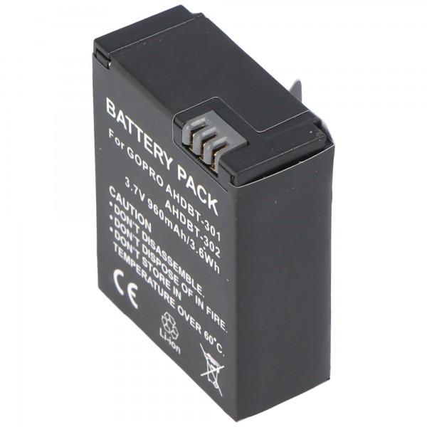 AccuCell-batterij geschikt voor Go Pro HD Hero 3, AHDBT-201, AHDBT-301
