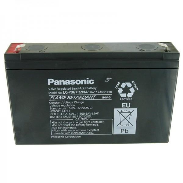 Panasonic LC-P067R2NA1 loodbatterij met 6 volt en 7200 mAh, 6,3 mm Faston