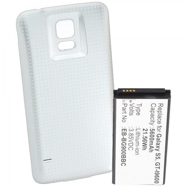 Batterij voor Samsung Galaxy S5, GT-I9600, GT-I9602, 5600mAh met cover wit