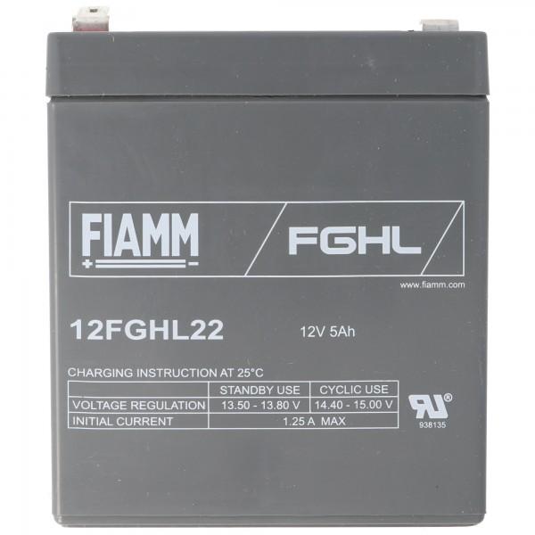 Fiamm 12FGHL22 loodbatterij 12 volt 5Ah, Faston 6,3 mm stekkercontact
