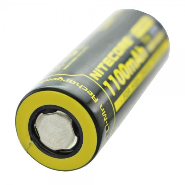 Nitecore IMR18490 met 1100 mAh, 3,6 V - 3,7 volt platte bovenkant zonder kop met positieve pool plat 49,05x18,5 mm, uiteindelijke laadspanning max. 4.2V