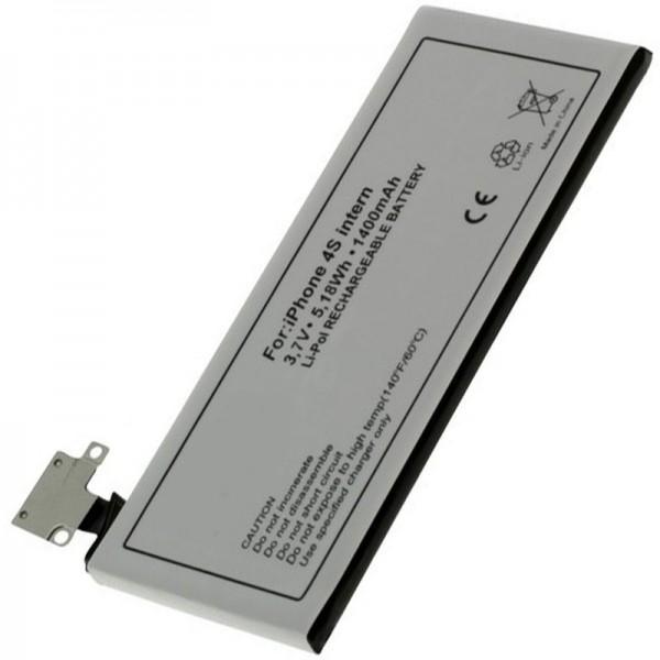 AccuCell-batterij geschikt voor Apple iPhone 4S-batterij, 616-0579, GB-S10-423282-0100, 1400mAh
