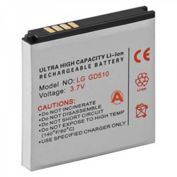 Accu geschikt voor LG GD510 Pop, GD880 Mini, LGIP-550N SBPL0100001