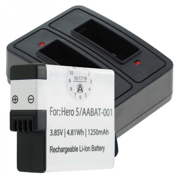 Batterij en dubbele lader geschikt voor GoPro Hero5, Hero 5 Black, AABAT-001