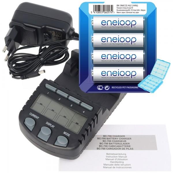 Technoline BC 700 batterijlader zwart met 4x eneloop HR-3UTG en AccuCell batterijbox
