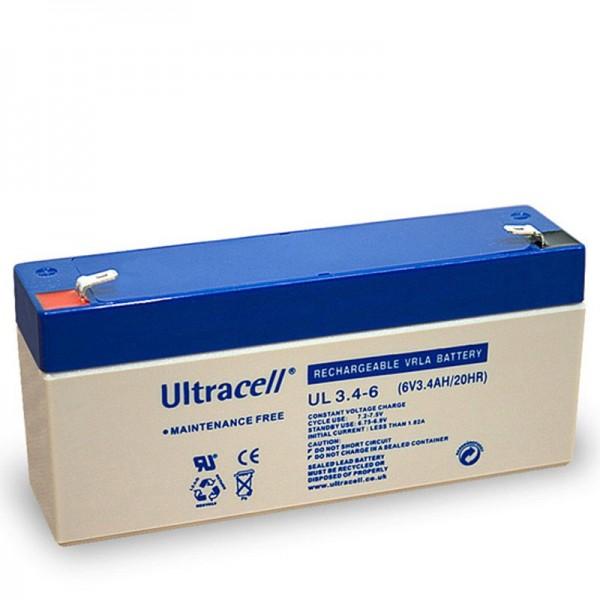 Ultracell UL 3,4-6 loodbatterij met Faston-contacten van 4,8 mm, afmetingen 134x34x62mm