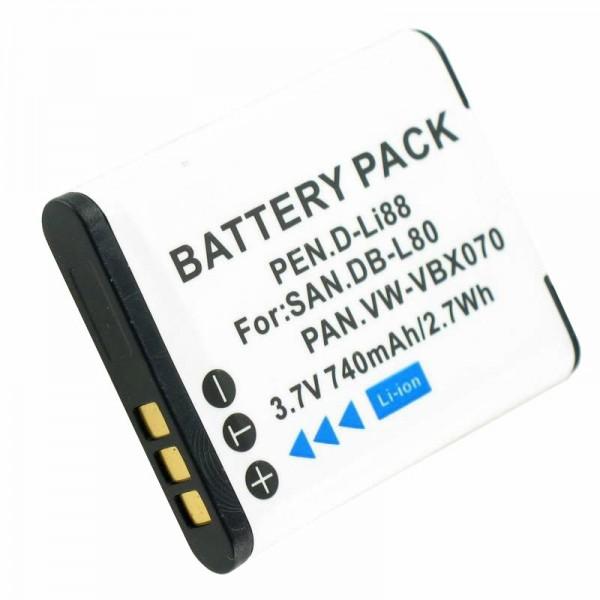 Accu geschikt voor Sanyo DB-L80, DMX-CG10, VPC-CG10, VPC-X1200