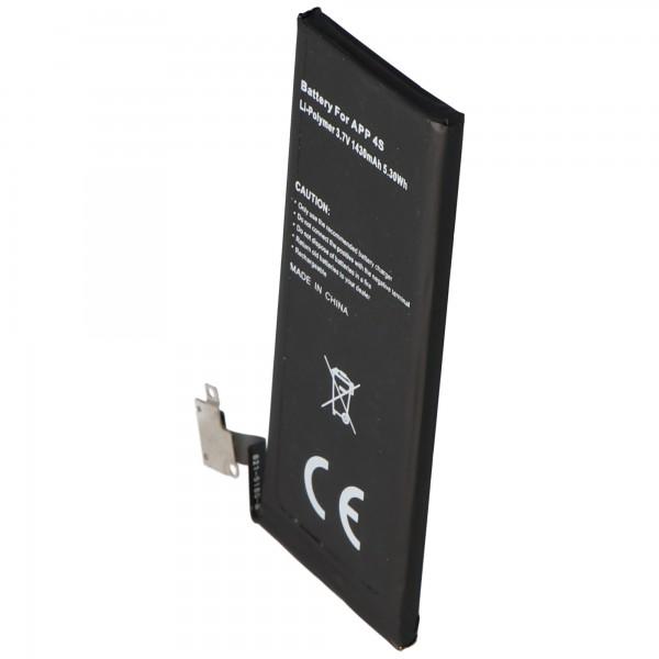 AccuCell-batterij geschikt voor Apple iPhone 4S-batterij, 616-0579, GB-S10-423282-0100 typ. 1440 mAh, 5,3 Wh, max. 1450mAh