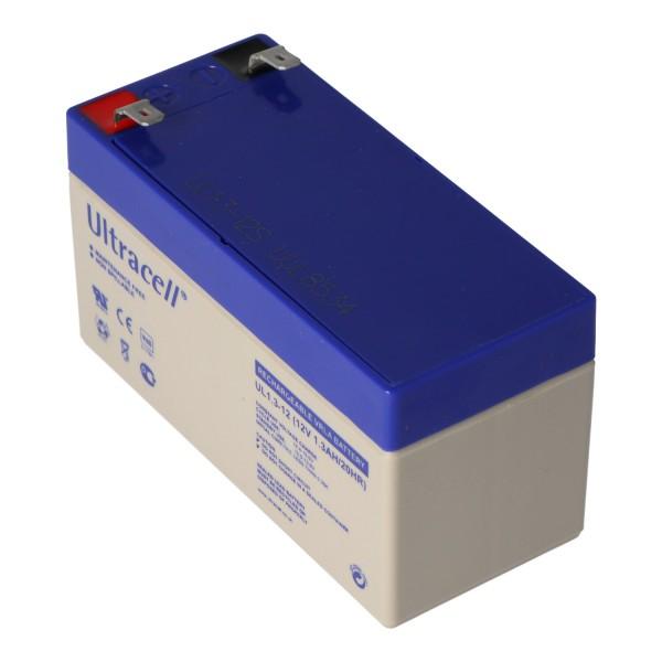 UL1.3-12 Ultracell loodbatterij 12 volt, 1,3 Ah met 2 Faston-contacten van 4,8 mm