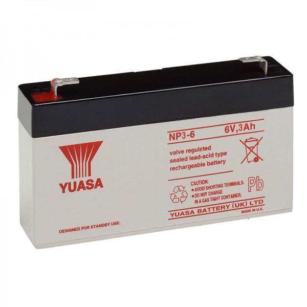 Yuasa NP3-6 accukabel PB 6 volt 3Ah Faston 4,8 mm