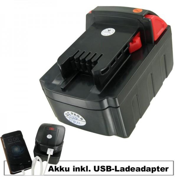 Batterij en USB-laadadapter geschikt voor MILWAUKEE M18 VC-batterij Li-ion 18 volt, 4000 mAh