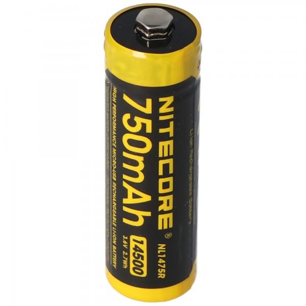Nitecore Li-Ion batterij type 14500 - 750mAh - NL1475R