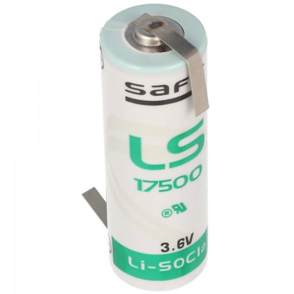 SAFT LS17500 lithiumbatterij, maat A, met soldeerplaatje Z-vorm