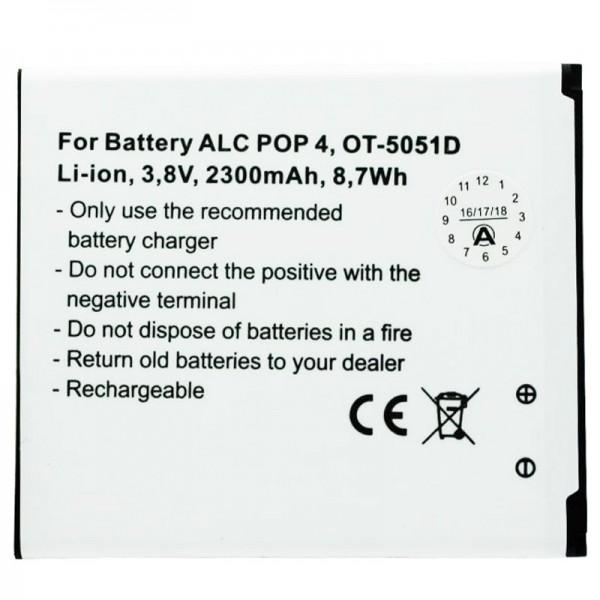 Batterij geschikt voor Alcatel POP 4, OT-5051D batterij TLP025H1