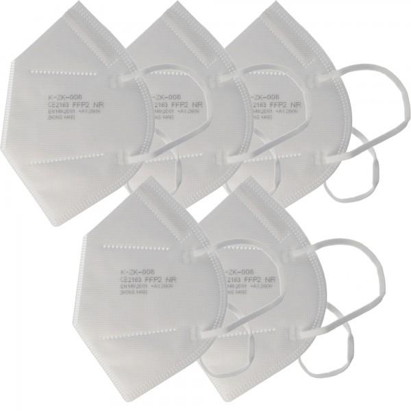 5 stuks Premium FFP2 masker latexvrij 7-laags zonder ventiel, weekverpakking, gecertificeerd volgens DIN EN149: 2001 + A1: 2009, deeltjesfilterend halfgelaatsmasker, FFP2 beschermend masker