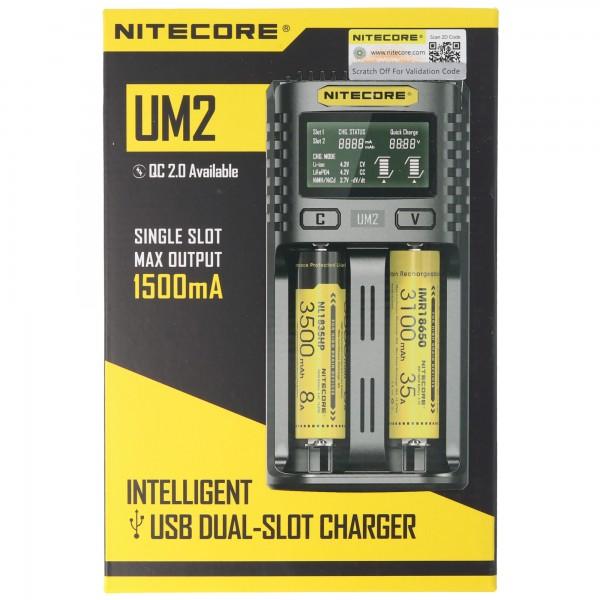 Nitecore UM2 USB-lader QC 2.0 compatibel voor Li-Ion-batterijen