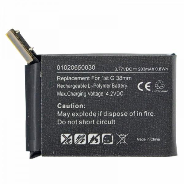 Accu geschikt voor de Apple iWatch 38mm Li-Polymer batterij A1578, A1553, iWatch 1st G 38mm, 3.8 volt 203mAh met 0.8Wh
