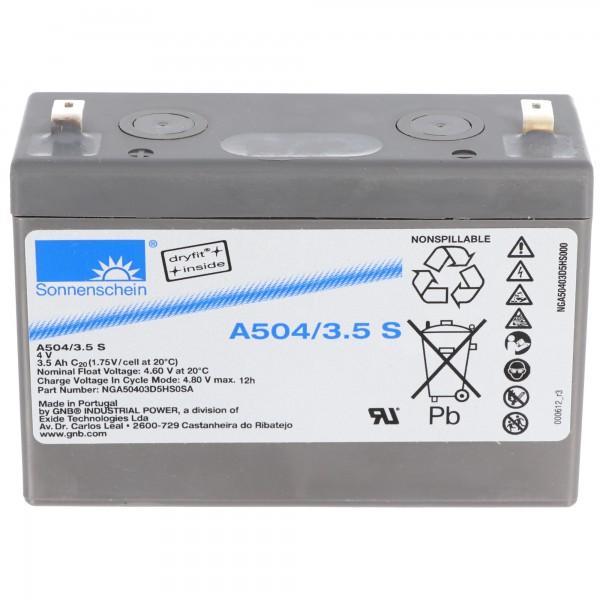 Sonnenschein Dryfit A504 / 3.5S PB loodbatterij connector 4,8 mm