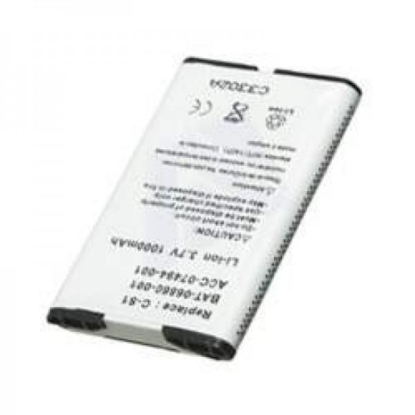 AccuCell-batterij geschikt voor RIM Blackberry 8300, 1000mAh