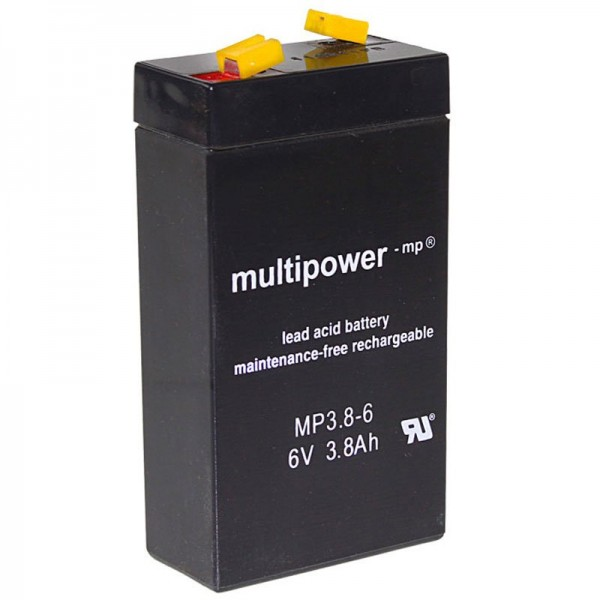 Multipower MP3.8-6 batterij WP3.2-6 lood 3,8 Ah met 4,8 mm Faston-contact