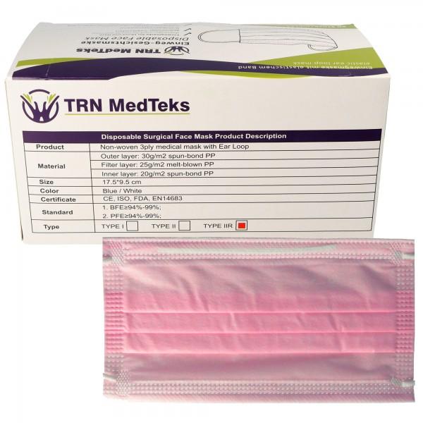 50 stuks medisch chirurgisch masker type IIR 3-laags roze, gecertificeerd volgens DIN EN 14683: 2019 + AC: 2019 (E), chirurgisch gezichtsmasker