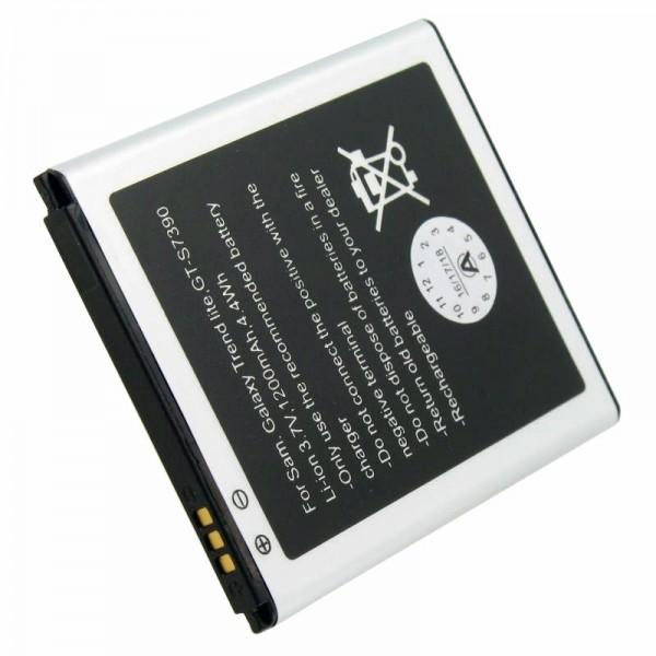 Batterij geschikt voor Samsung Galaxy Trend Lite batterij GT-S7390, afmetingen 60,7 x 50,4 x 4,4 mm