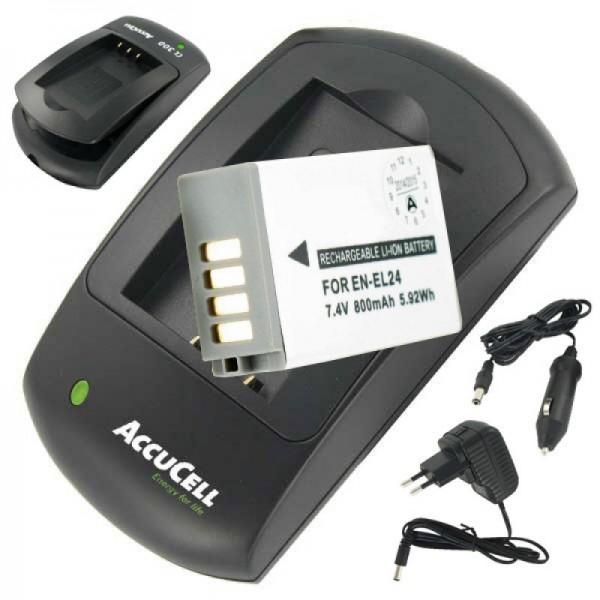 Batterij en lader geschikt voor EN-EL24 batterij voor Nikon 1 J5 bespaarprijs
