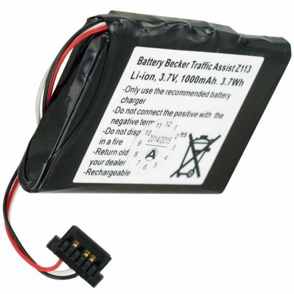 Batterij voor Becker Z113 Batterij voor Traffic Assist Z113 SJM120, 3,7 V, 1000 mAh