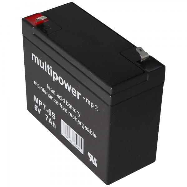 Multipower MP7-6S, WP7-6S accukabel PB 6Volt 7Ah