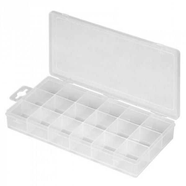 Plastic lege doos met 18 compartimenten
