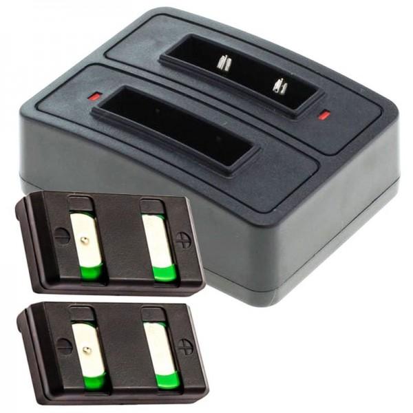 2x batterij en snellader tweevoudig geschikt voor de Sennheiser BA90 batterij NiMh, NiCd