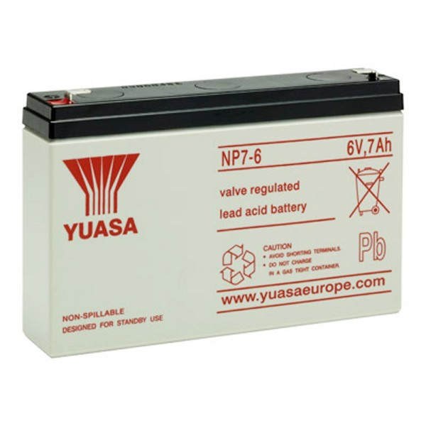 Yuasa NP7-6 accukabel PB 6 volt 7Ah Faston 4,8 mm
