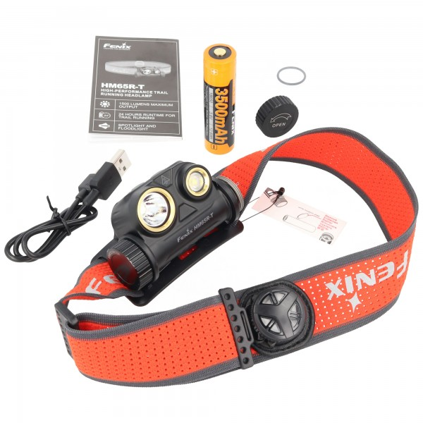 Fenix HM65R-T hoofdlamp, oplaadbare led-koplamp met max. 1300 lumen, opladen via USB-C, inclusief Fenix ARB-L18-3500 accu