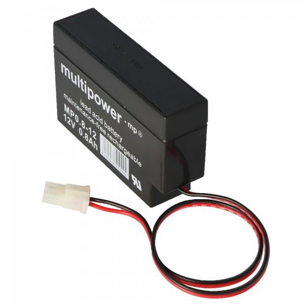 Fiamm FG20086 loodbatterij met kabel en AMP-stekker 800 mAh