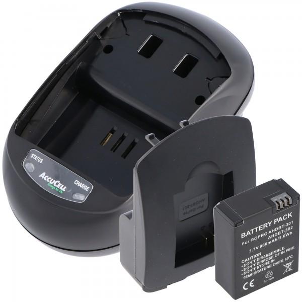 Laadset en replica-batterij geschikt voor Go Pro HD Hero 3, AHDBT-201, AHDBT-301