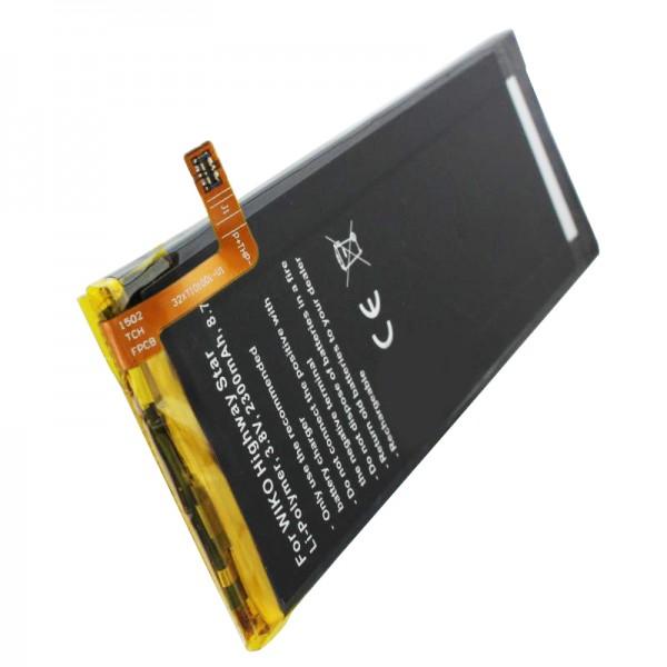 Batterij geschikt voor de Wiko Highway Star-batterij, Highway Star 4G dual SIM-batterij TLP15016 afmetingen ca. 112,10 x 41,70 x 3,20 mm