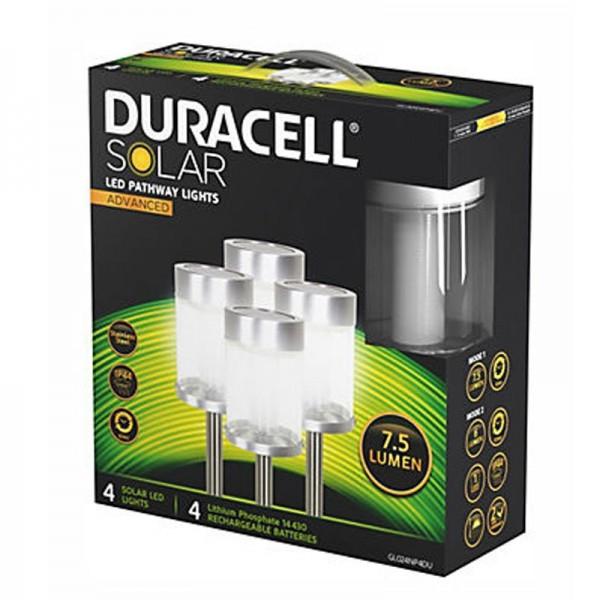 Set van 4 Duracell LED-zonnepaden met tot 7,5 lumen, roestvrij staal, met lithiumbatterij